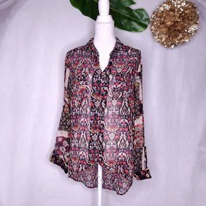 Band of Gypsies black cream and red boho top